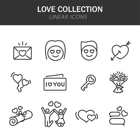 Love collection linear icons in black on a white background