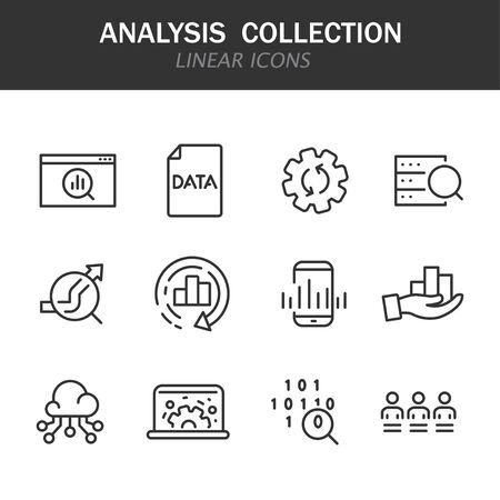 Analysis collection linear icons in black on a white background Иллюстрация