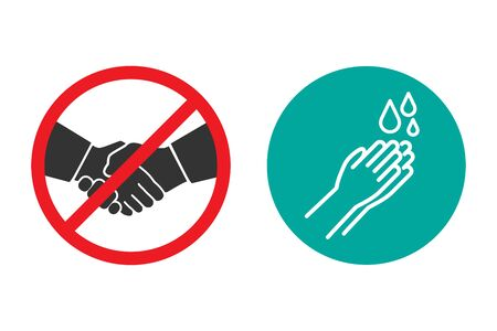 No handshake and hand washing icons in a flat design Иллюстрация
