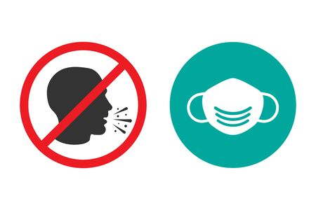 No cough and medical mask icons in a flat design