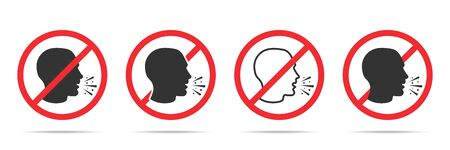 Set of no cough icons in four different versions in a flat design. Vector illustration