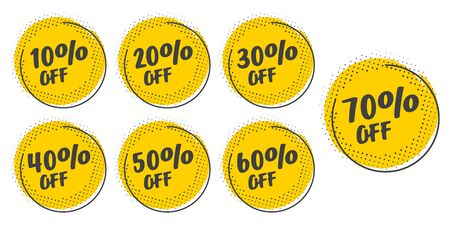Set of grunge sticker with 10, 20, 30, 40, 50, 60, 70 percent off in a flat design with halftone. For sale, promotion, advertising