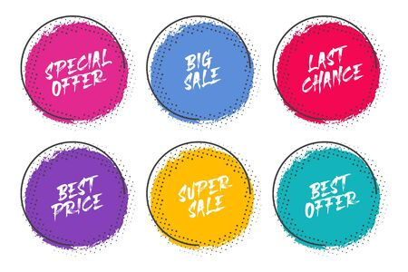 Set of grunge circles with halftone for promotion and commerce Ilustrace