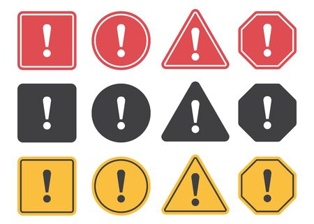 Set of attention icons in a flat design