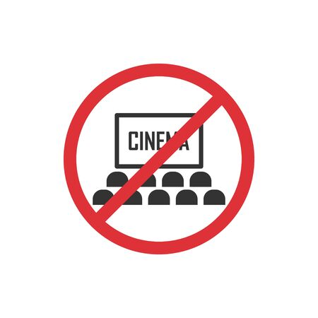 No cinema. Prohibition sign for quarantine. Public access restriction Ilustrace