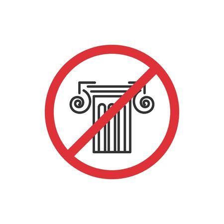 No museum. Prohibition sign for quarantine. Public access restriction Ilustrace