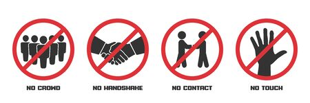 Prohibition signs during quarantine. No crowd, handshake, contact, touch