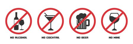 Set of prohibition signs no alcohol in a flat design Ilustrace
