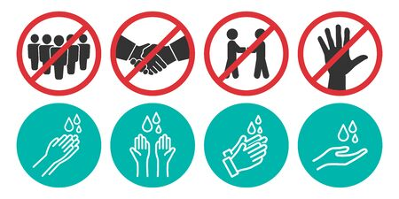 Set of no handshake, touch and washing hands icons in four different versions in a flat design. Vector illustration