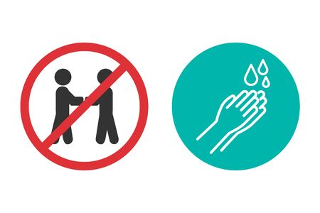 No handshake and hand washing icons in a flat design Ilustrace