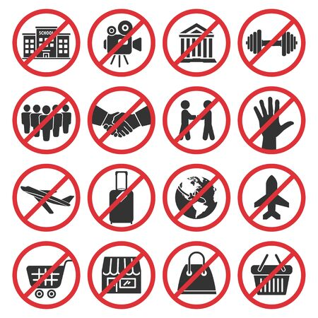 Big set of prohibition signs during quarantine. No public place, crowd and handshake, travel, shopping