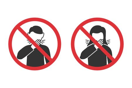 Prohibition signs for wrong cough in a flat design