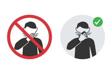 Prohibition signs for wrong cough and the correct method Reklamní fotografie - 142254627