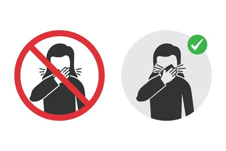 Prohibition signs for wrong cough and the correct method Reklamní fotografie - 142254630