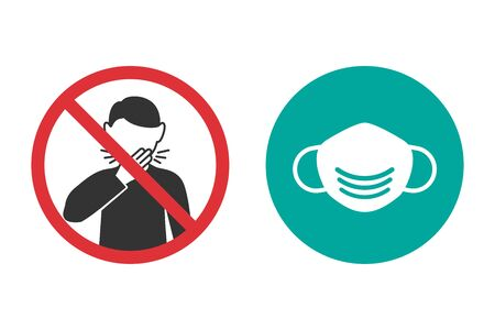 No cough and medical mask icons in a flat design Reklamní fotografie - 142254638