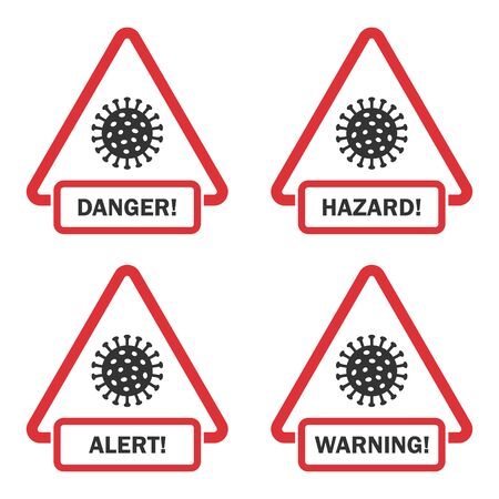 Covid-19 danger, hazard, alert, warning signs in a flat design Reklamní fotografie - 142254669