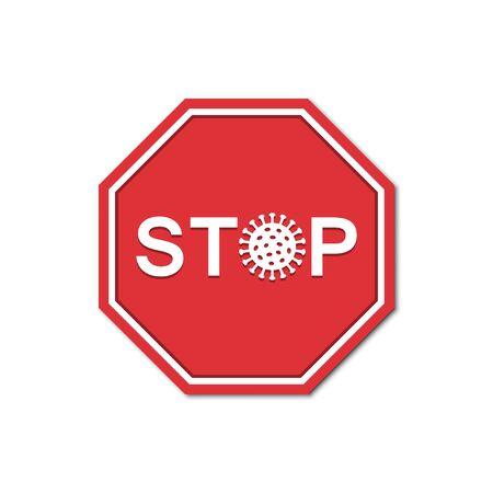 Stop sign coronavirus in a flat design. Vector illustration