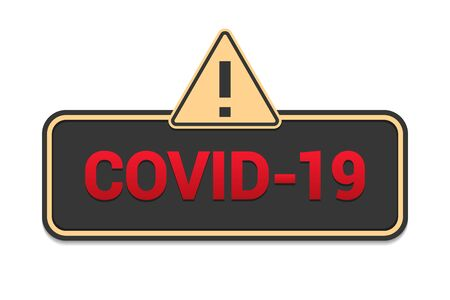 Covid-19 virus sign with hazard icon in a flat design Reklamní fotografie - 142254673
