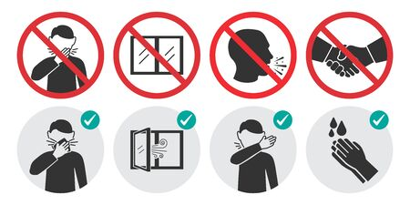 Preventive measures icons for not getting sick and not spreading virus. Set of prohibition signs Vektorgrafik