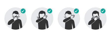 Preventive measures icons how to cough and sneeze and not spreading virus 向量圖像
