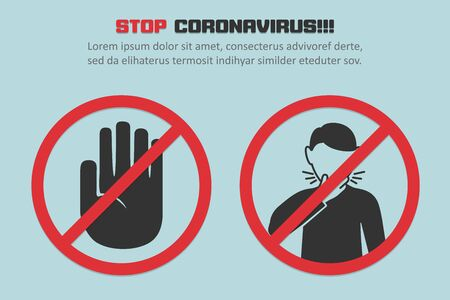 Stop coronavirus with red prohibit coughing man sign in a flat design concept background
