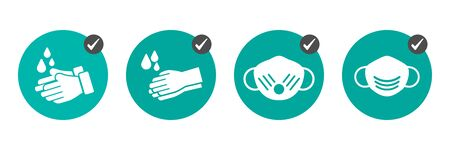 Preventive measures icons how not to get a virus. Wash hands and wear medical masks Ilustrace