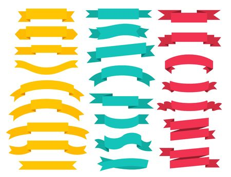 Set of banner ribbon elements on a white background. Vector illustration Ilustrace