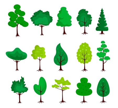 Big set of trees icons in a flat design on a white background