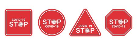 Set of stop Novel Coronavirus outbreak in a flat design. Vector illustration
