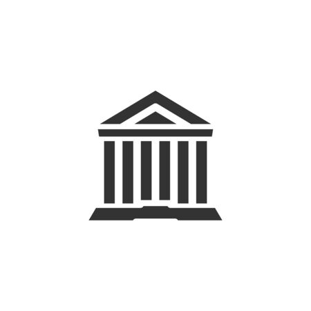 Court or museum building icon in simple design. Vector illustration