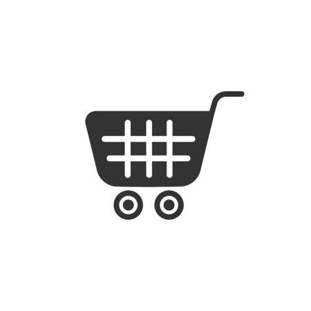 Shopping cart icon in simple design. Vector illustration