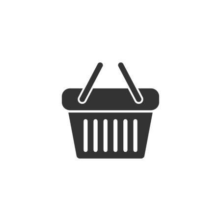 Shopping basket icon in simple design. Vector illustration