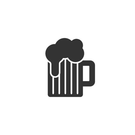 Beer glass icon in simple design. Vector illustration