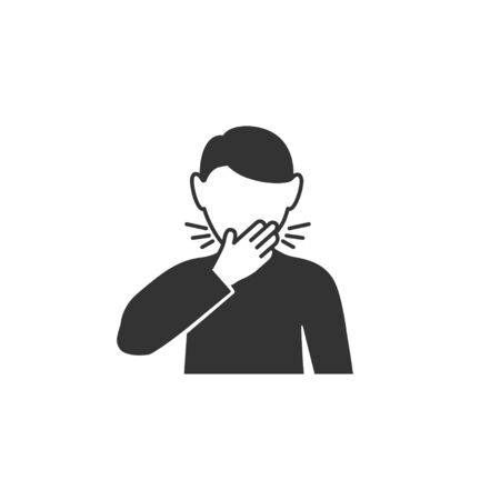 Man coughs in hand icon in simple design. Vector illustration Ilustrace