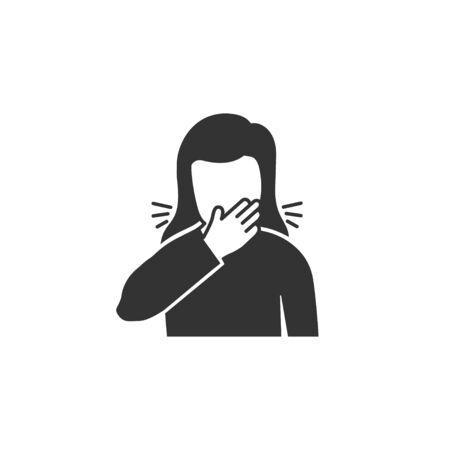 Woman coughs in hand icon in simple design. Vector illustration