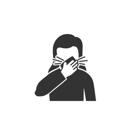 Woman coughs in napkin icon in simple design. Vector illustration