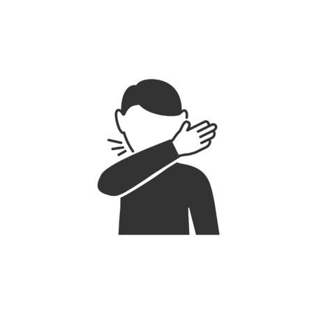 Man coughs at the bend of the elbow icon in simple design. Vector illustration