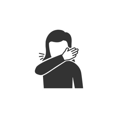 Woman coughs at the bend of the elbow icon in simple design. Vector illustration