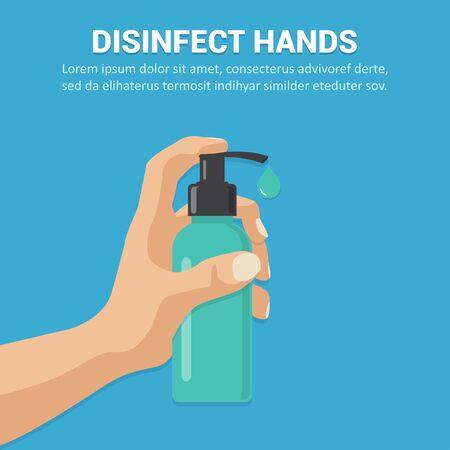 Disinfect hands with sanitizer gel concept in a flat design. Vector illustration