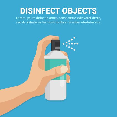 Disinfect objects with spray concept in a flat design. Vector illustration