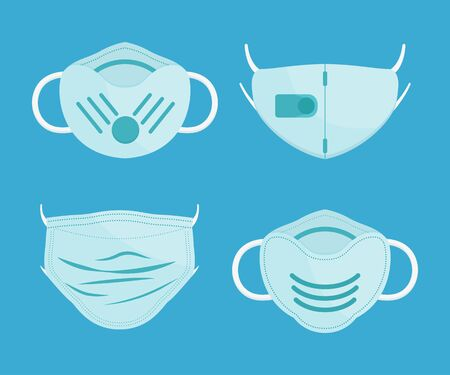 Set of masks prevent icons in a flat design. Vector illustration