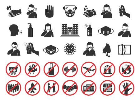 Big set of coronavirus icons. Preventive virus protection measures, quarantine icons, prohibition symbols, virus prevention