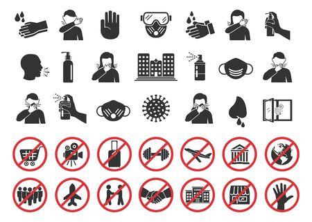 Grand ensemble d'icônes de coronavirus. Mesures préventives de protection contre les virus, icônes de quarantaine, symboles d'interdiction, prévention des virus