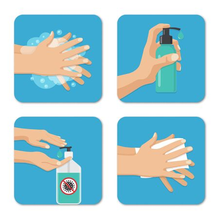 Hands wash and disinfection backgrounds set in a flat design. Preventive measures against coronavirus