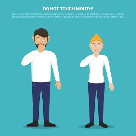 Do not touch your mouth with man and woman in a flat design. Tips for not picking up a virus. Preventive measures against coronavirus Ilustrace