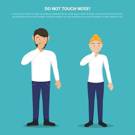 Do not touch your nose with man and woman in a flat design. Tips for not picking up a virus. Preventive measures against coronavirus