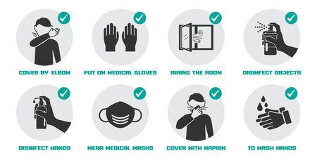 Icônes de mesures préventives pour ne pas tomber malade et ne pas propager le virus
