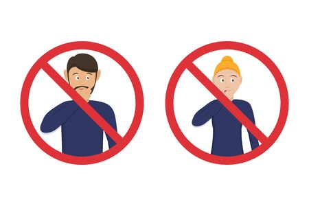 Prohibition icons do not touch your mouth with man and woman in a flat design. Tips for not picking up a virus