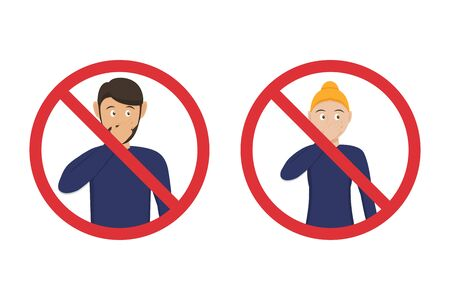 Prohibition icons do not touch your nose with man and woman in a flat design. Tips for not picking up a virus Ilustrace