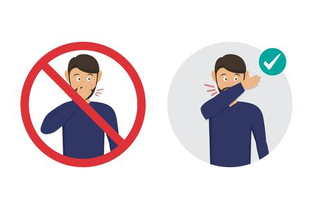 Prohibition sign with man for wrong cough in hand and the correct method is elbow fold. Preventive measures against coronavirus